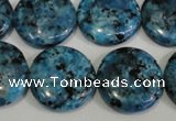 CLJ314 15.5 inches 20mm flat round dyed sesame jasper beads wholesale