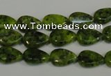 CLJ330 15.5 inches 8*12mm flat teardrop dyed sesame jasper beads