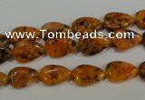 CLJ331 15.5 inches 8*12mm flat teardrop dyed sesame jasper beads