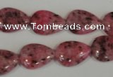 CLJ337 15.5 inches 13*18mm flat teardrop dyed sesame jasper beads