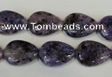 CLJ338 15.5 inches 13*18mm flat teardrop dyed sesame jasper beads