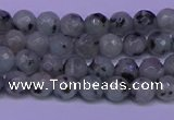 CLJ420 15.5 inches 4mm faceted round sesame jasper beads