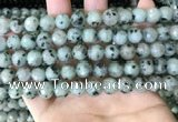 CLJ431 15.5 inches 8mm faceted round sesame jasper beads