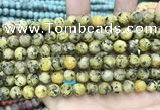 CLJ592 15 inches 8mm round matte sesame jasper beads