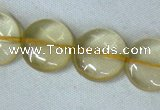 CLQ04 15.5 inches 12mm coin natural lemon quartz beads Wholesale