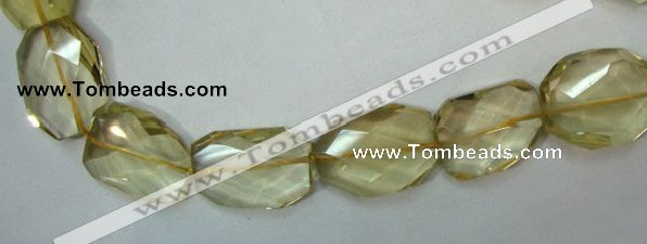 CLQ05 faceted freeform brick natural lemon quartz beads