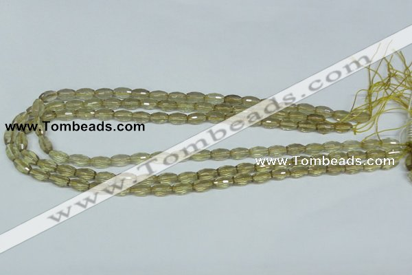 CLQ09 15.5 inches 8*16mm faceted rice natural lemon quartz beads