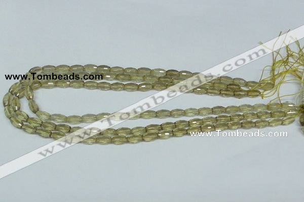 CLQ10 15.5 inches 6*10mm faceted rice natural lemon quartz beads