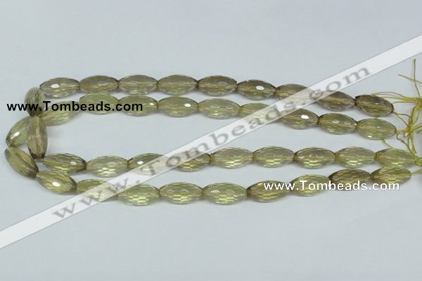 CLQ12 15.5 inches 10*20mm faceted rice natural lemon quartz beads