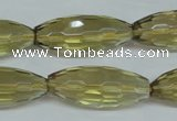 CLQ14 15.5 inches 12*30mm faceted rice natural lemon quartz beads