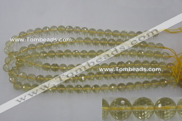 CLQ163 15.5 inches 10mm faceted round natural lemon quartz beads