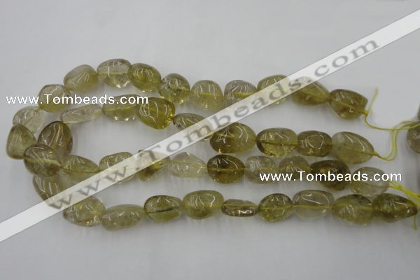 CLQ170 15.5 inches 12*16mm – 14*22mm nuggets natural lemon quartz beads