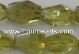 CLQ175 14*20mm � 16*28mm faceted nuggets natural lemon quartz beads
