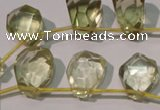 CLQ254 Top-drilled 12*16mm – 13*18mm faceted freeform lemon quartz beads