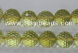 CLQ57 15.5 inches 10mm faceted round natural lemon quartz beads