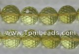 CLQ58 15.5 inches 12mm faceted round natural lemon quartz beads