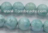 CLR21 15.5 inches 14mm round grade AA natural larimar gemstone beads
