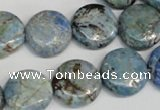CLR211 15.5 inches 16mm flat round larimar gemstone beads