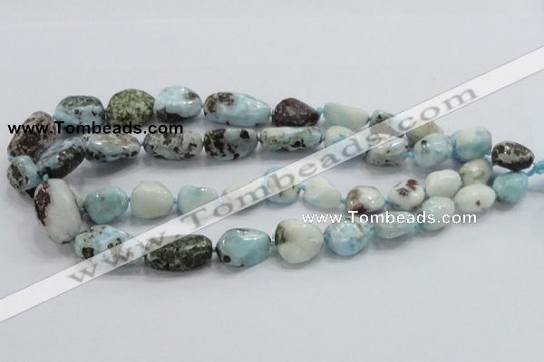 CLR27 15.5 inches nugget natural larimar gemstone beads wholesale
