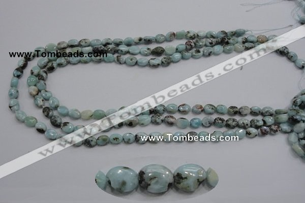 CLR35 15.5 inches 6*8mm oval natural larimar gemstone beads