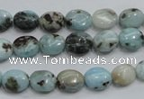 CLR36 15.5 inches 8*10mm oval natural larimar gemstone beads