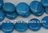 CLR412 15.5 inches 14mm flat round dyed larimar gemstone beads