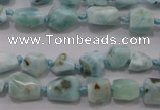 CLR46 15.5 inches 6*7mm � 10*12mm nuggets natural larimar beads