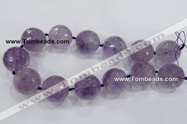 CLS01 15.5 inches 30mm faceted round large amethyst gemstone beads