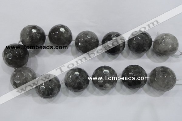 CLS02 15.5 inches 30mm faceted round large cloudy quartz beads