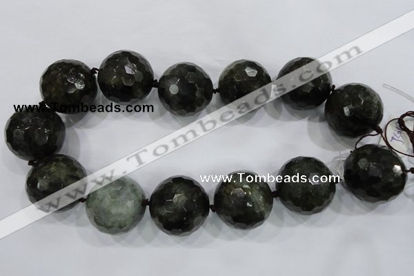 CLS03 15.5 inches 30mm faceted round large black labradorite beads