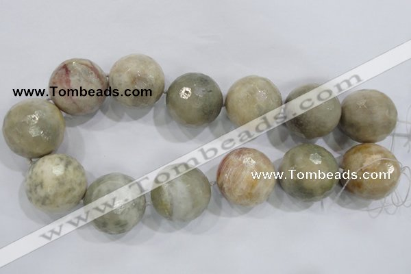 CLS04 15.5 inches 30mm faceted round large fossil coral beads