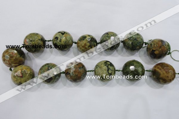 CLS05 15.5 inches 30mm faceted round large peacock gemstone beads