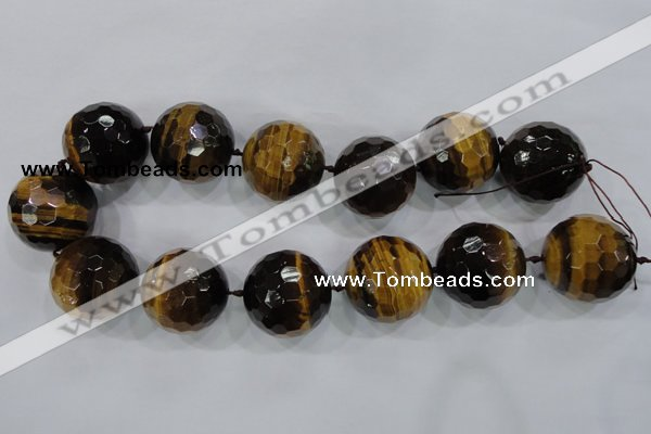 CLS06 15.5 inches 30mm faceted round large yellow tiger eye beads