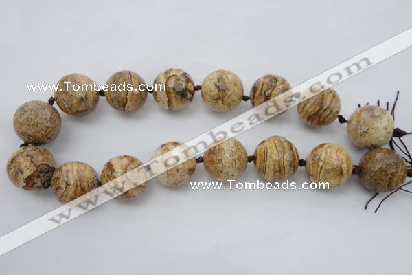 CLS101 15.5 inches 25mm faceted round large picture jasper beads