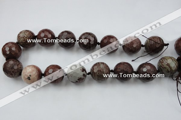 CLS109 15.5 inches 25mm faceted round red artistic jasper beads