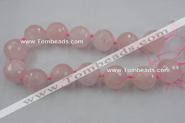 CLS15 15.5 inches 30mm faceted round large rose quartz beads