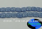 CLU155 15.5 inches 18*18mm square blue luminous stone beads