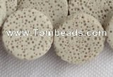 CLV17 14 inches 6*21mm coin milk white natural lava loose beads
