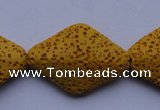 CLV20 15 inches 22*32mm rhombus yellow natural lava beads wholesale
