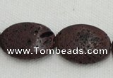 CLV209 15.5 inches 18*25mm oval coffee natural lava beads wholesale