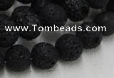 CLV215 15.5 inches 14mm round black natural lava beads wholesale