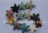 CLV37 14 inches 10*36mm star multicolor natural lava beads wholesale