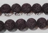 CLV478 15.5 inches 12mm round dyed purple lava beads wholesale