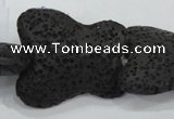 CLV52 15 inches 25*30mm butterfly-shaped black natural lava beads