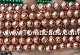 CLV543 15.5 inches 8mm round plated lava beads wholesale