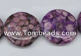 CMB32 15.5 inches 25mm flat round dyed natural medical stone beads