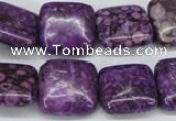 CMB38 15.5 inches 16*16mm square dyed natural medical stone beads