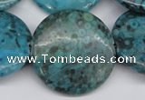 CMB45 15.5 inches 30mm flat round dyed natural medical stone beads