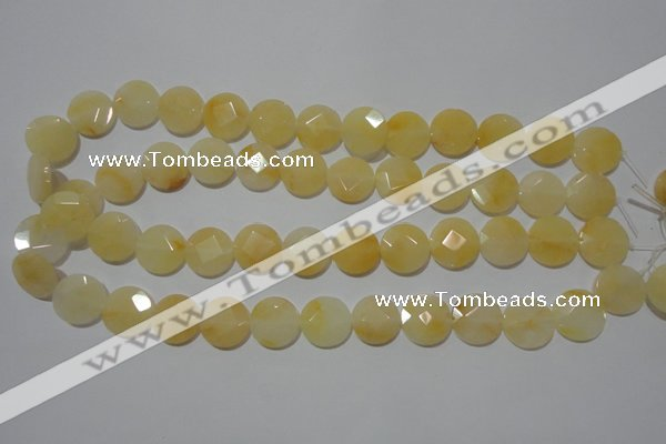 CME51 15.5 inches 15mm faceted coin yellow jade gemstone beads