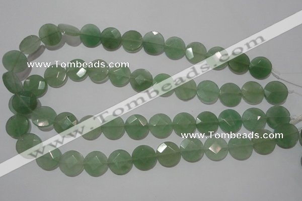 CME52 15.5 inches 15mm faceted coin green aventurine gemstone beads